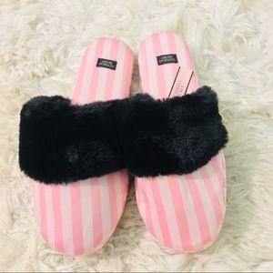 Victoria's Secret slippers fluffy pink/ black
